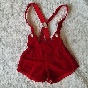 Vintage Red Velvet Baby Coveralls